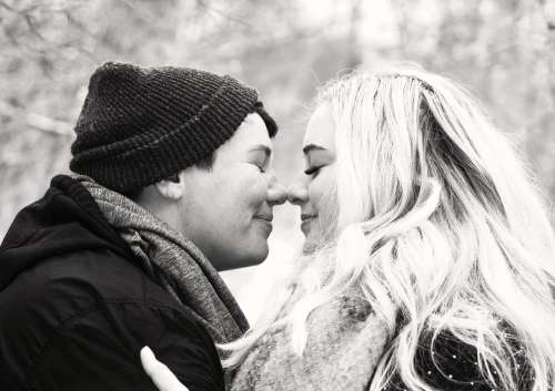 Black And White Image Of An Eskimo Kiss Photo