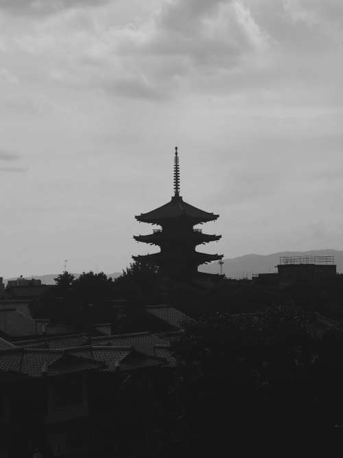 Black And White Pagoda Photo