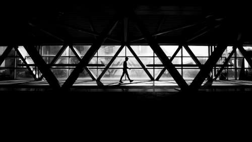 Black And White Pedestrian Bridge Photo