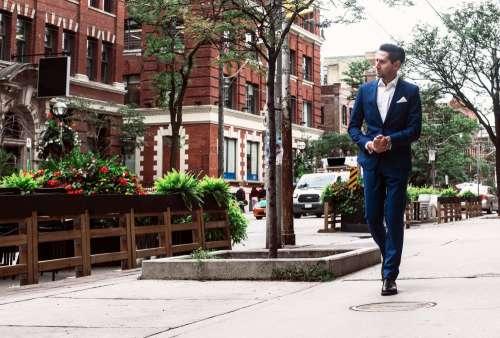 Blue Formal Suit Urban Businessman Photo