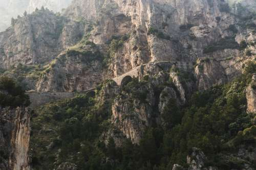 Bridge On Mountain Side Photo