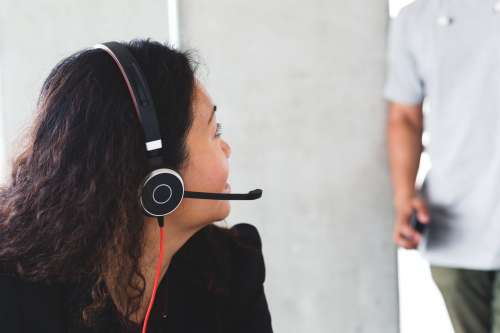 Call Centre Staff With Headset Photo