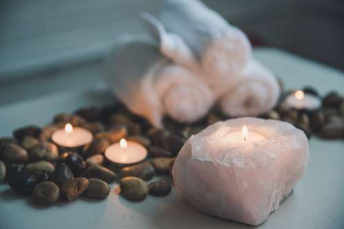 Candle In Natural Stone Holder Photo