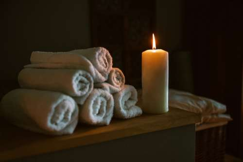 Candle Lit At Spa Photo