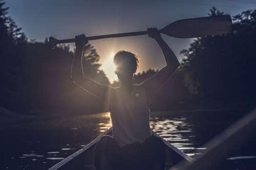 Canoe Paddler Silhouette Photo
