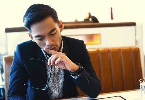 Casual Mens Fashion At Diner Table Photo