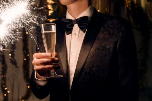 Champagne Bowt Ties And Sparklers Photo
