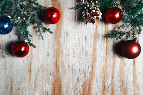 Christmas Decor On Woodgrain Photo