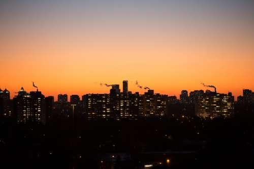 City Sunset Smoke Photo