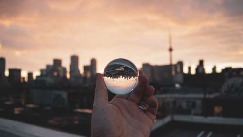 City Through Glass Ball Photo