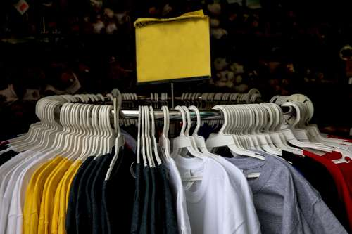 Clothing Rack T-Shirts For Sale Blank Sign Photo
