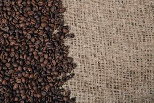 Coffee Beans On Burlap Photo
