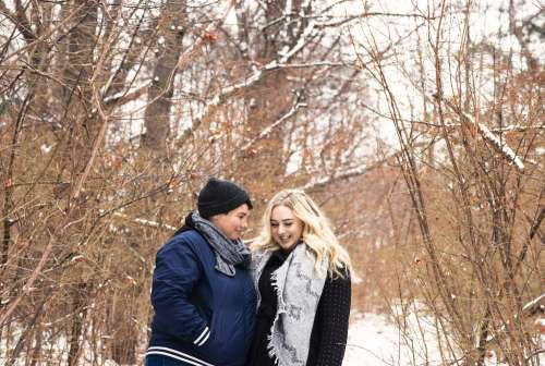 Couple Shared Moment In The Woods Photo