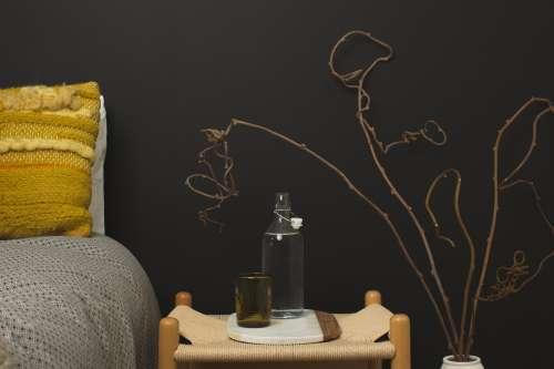 Dark Wall & Bedside Table Photo