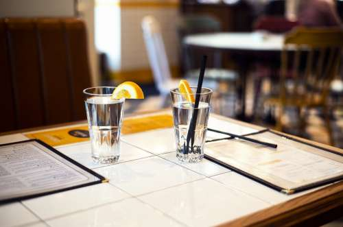 Diner Table With Water Glasses Photo