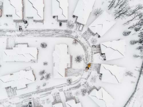 Drone Spies Plow In The Snow Photo