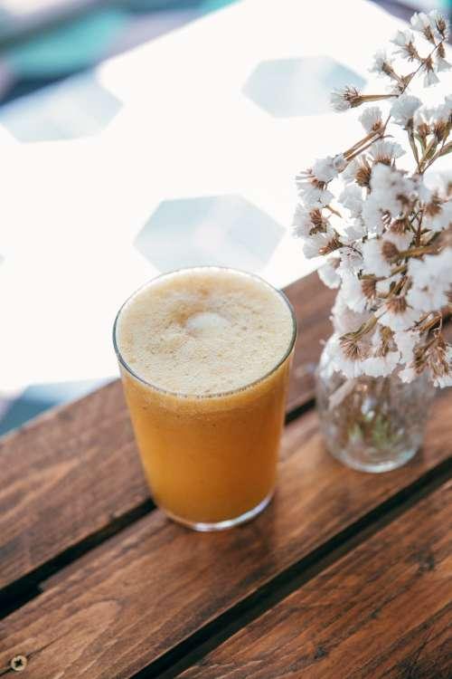 Fresh Juice On Cafe Table Photo