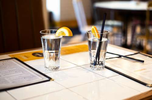 Fresh Water On Restaurant Table Photo