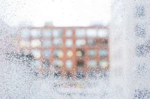 Frosted Winter Window Glass Photo
