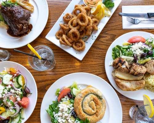 Greek Dinner In Restaurant Photo