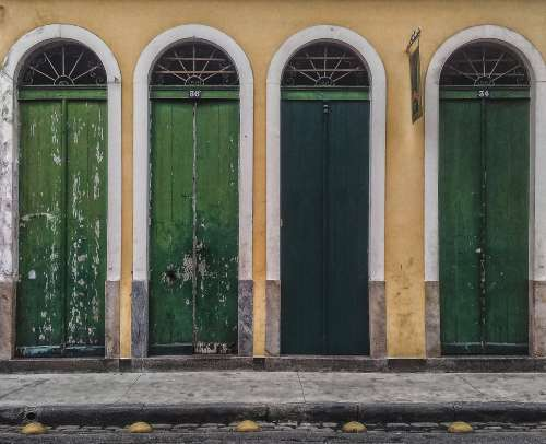 Green Tall Doors Photo
