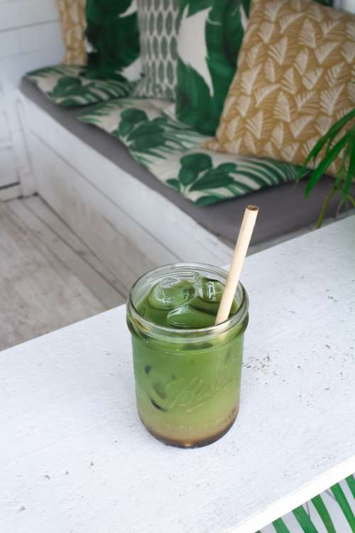 Healthy Green Juice On Ice Photo