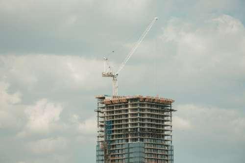Highrise Construction Glass Building Crane Photo