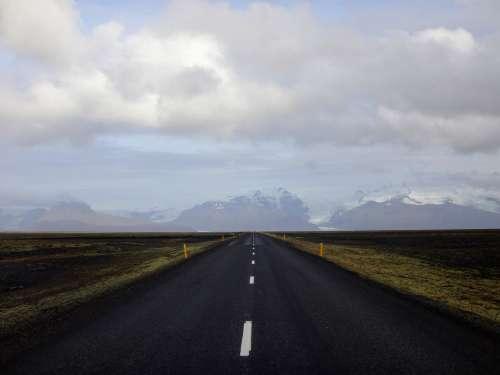 Highway Through Flat Landscape Photo
