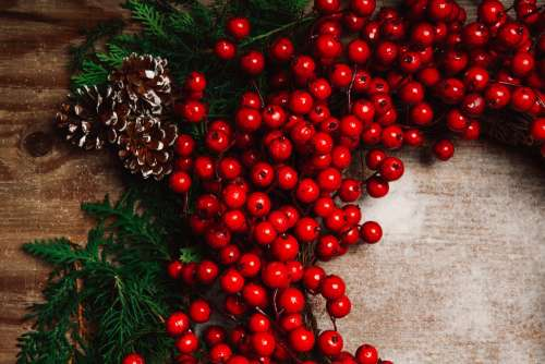 Holiday Berry Decor On Wood Photo