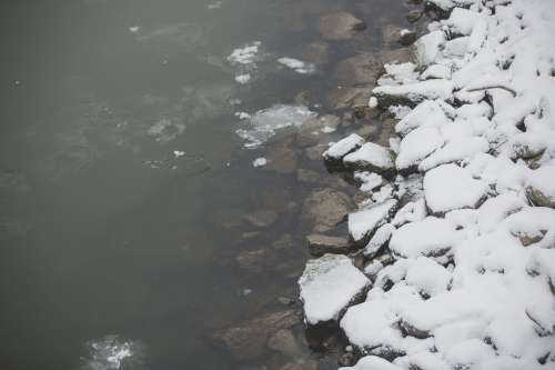 Ice And Snow On Rocky Shore Photo