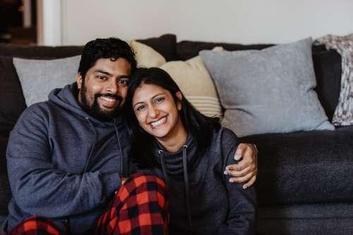 Indian Couple Christmas Morning Portrait Photo