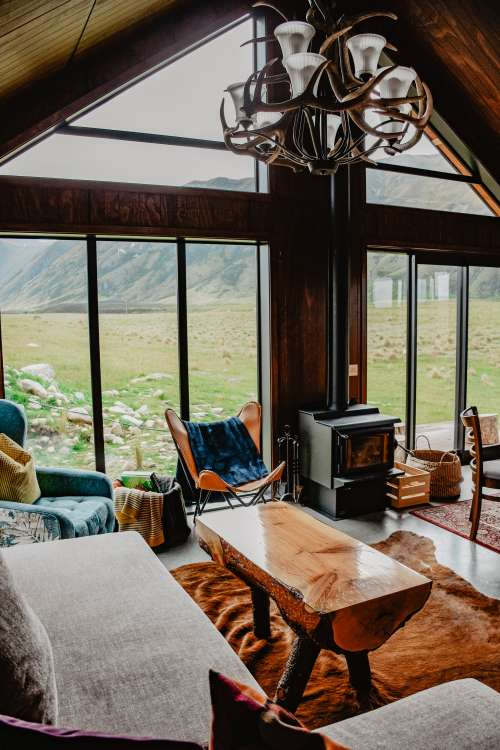 Inside A Cabin in the Mountains Photo