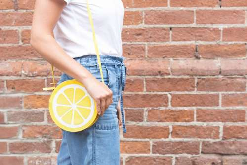 Lemon Purse Being Worn Photo