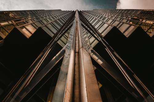 Looking Up Gold Glass Building Photo