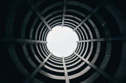 Looking Up In Circular Architecture Photo
