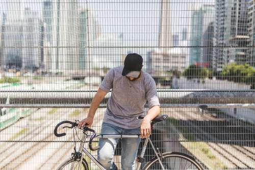 Man Posing With Bike Photo