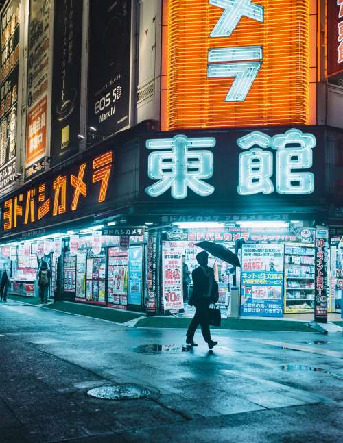 Man With Umbrella Framed By The Neon Tapestry Of Tokyo Photo