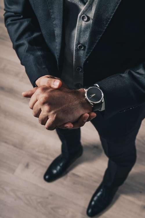 Mens Grey & Black Suit Photo