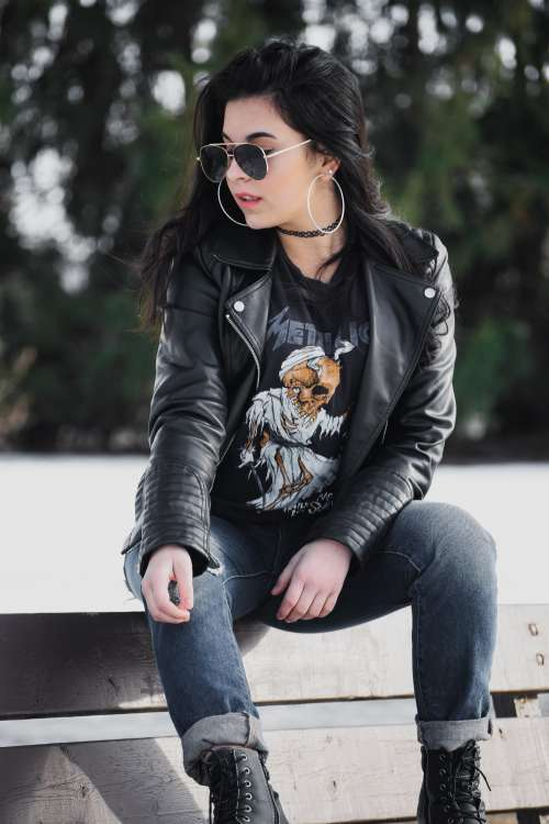 Modern Leather Jacket Womens Fashion Photo