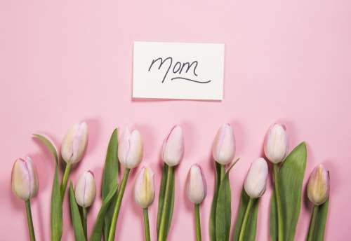 Mom Card And Pink Flowers Photo