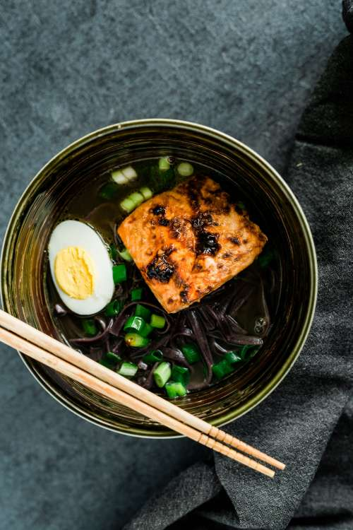 Noodles With Salmon And Egg Photo