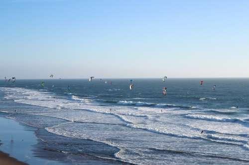 Ocean Waves Kites Surfing Photo
