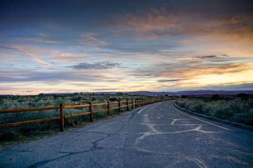 Open Road At Sunset Photo