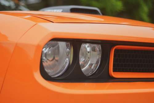 Orange Sports Car Close Up Photo