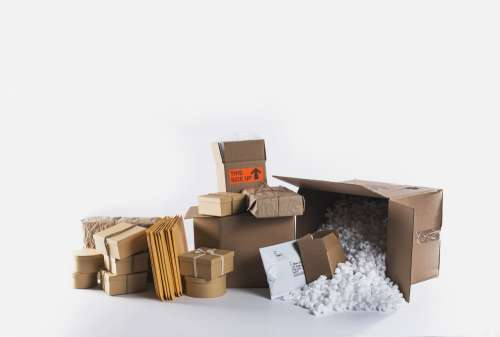 Packing Materials Piled Up On Floor Photo
