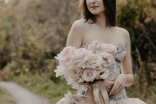 Pale Pink Romantic Bouquet For Wedding Photo