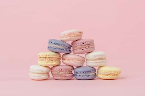 Pastel Macaron Pyramid On Pink Photo