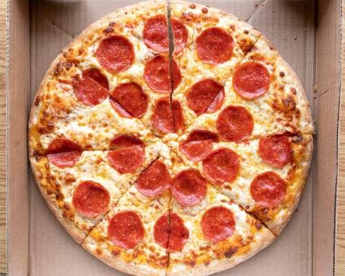 Pepperoni Pizza In Box Photo
