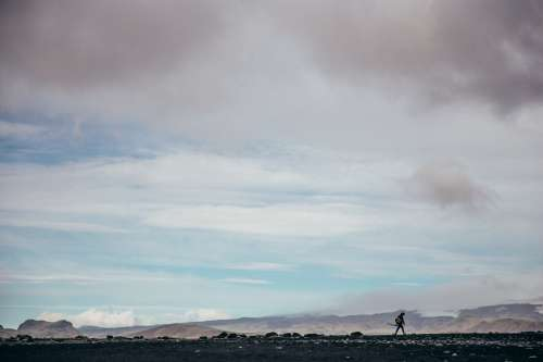 Photographer Hiking Iceland Flats Photo