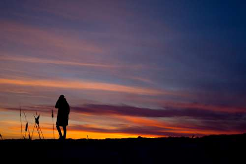 Prairie Sunset Silhouette Photo